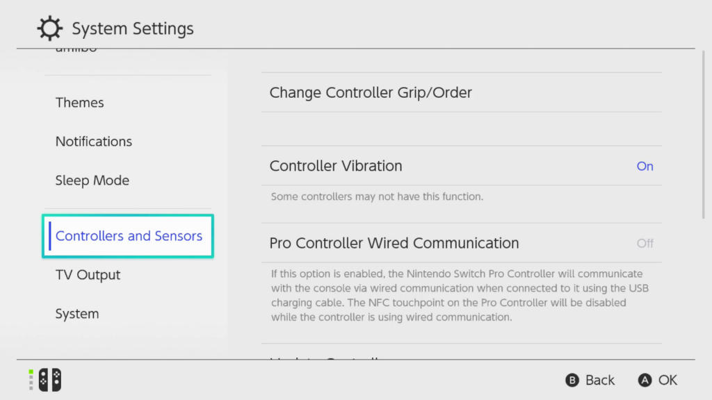 Screen shot showing the System Settings page on the Ninetendo Switch with the Controllers and Sensors option higlighted for selection.
