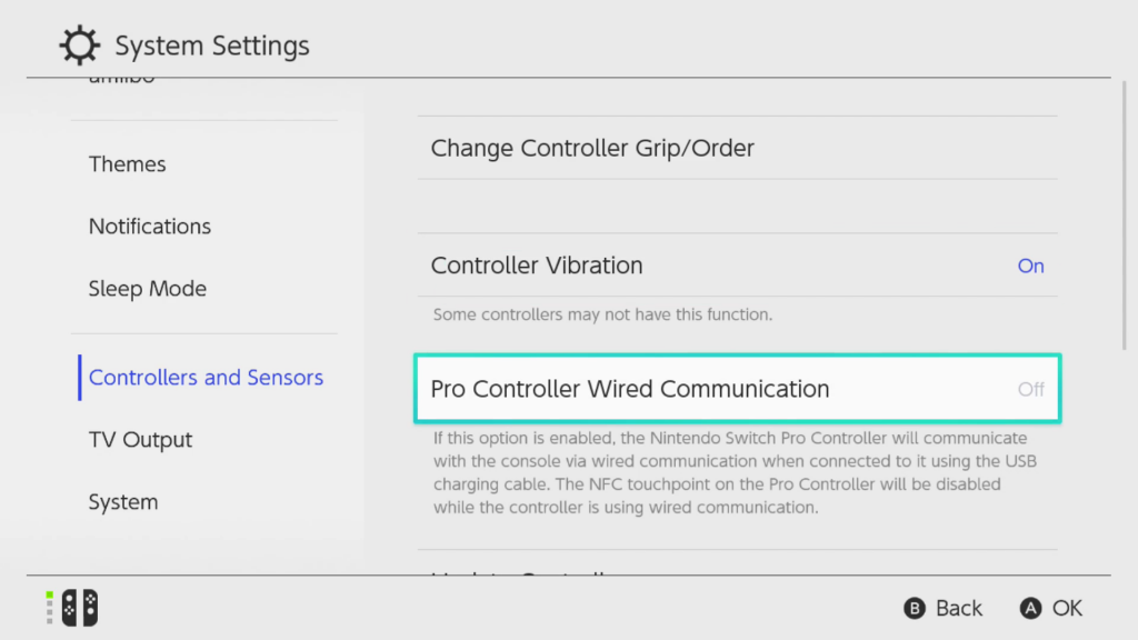 Screen shot of the Controllers and Sensors section of the System Settings on the Nintendo Switch with the Pro Controller Wired Communication option highlighted for selection.