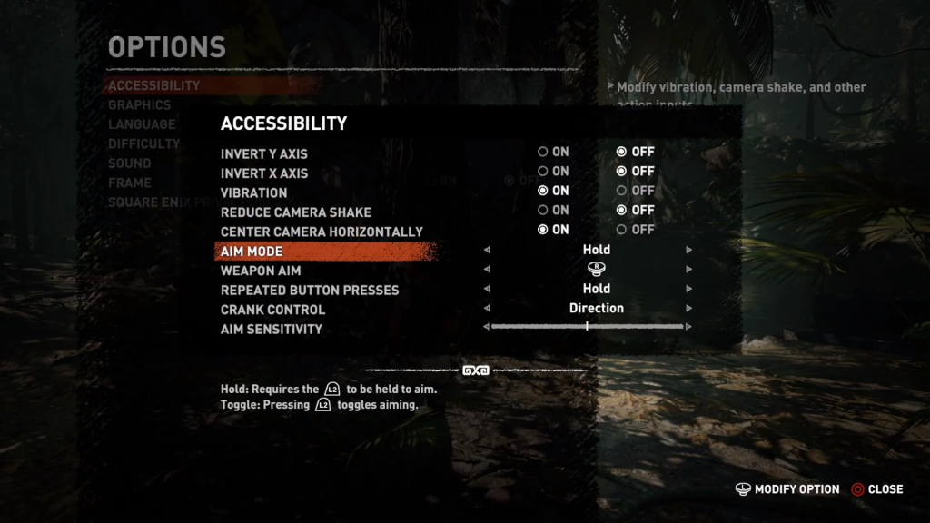 Shadow of the Tomb Raider screen shot showing the Accessibility Options.