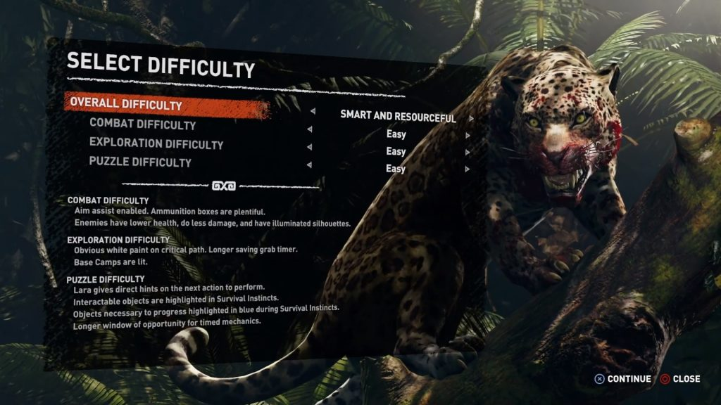 Shadow of the Tomb Raider screen shot showing the Select Difficulty page.