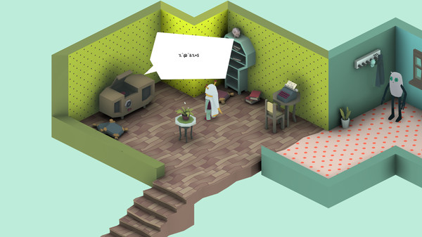 One Button Adventure Game screen shot. Isometric view of a computerised dollshouse. Strange creatures reside.