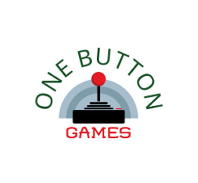 One Button Games logo of a retro joystick with single button in front of a grey rainbow.