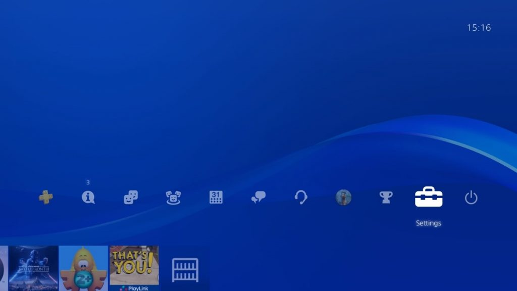 PlayStation OS showing the main menu with the Settings icon highlighted.