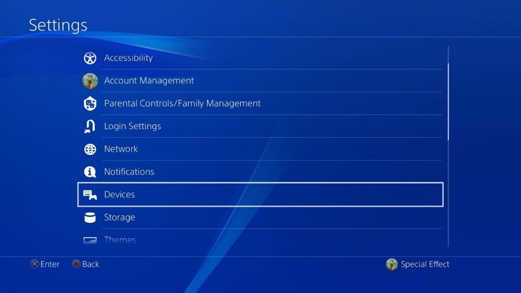 PlayStation OS's Settings menu with Devices highlighted