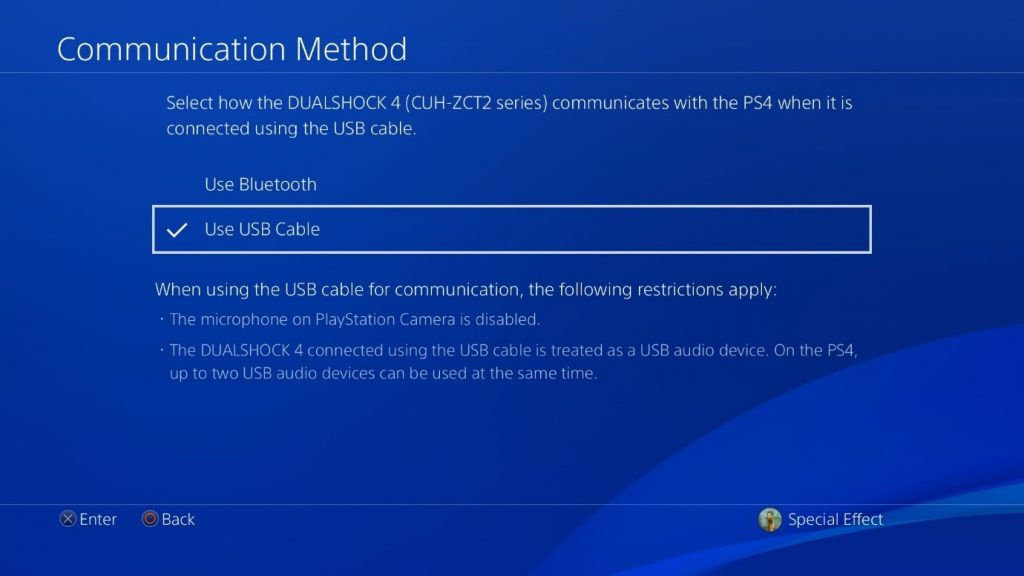 PlayStation OS's Communication Method menu with Use USB Cable highlighted and selected.