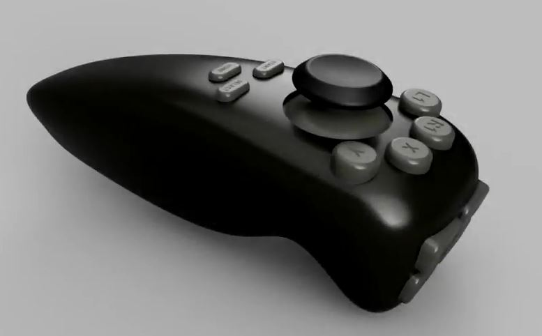 Russian one-handed controller for gaming. Black with a single thumb-stick and a range of grey buttons.