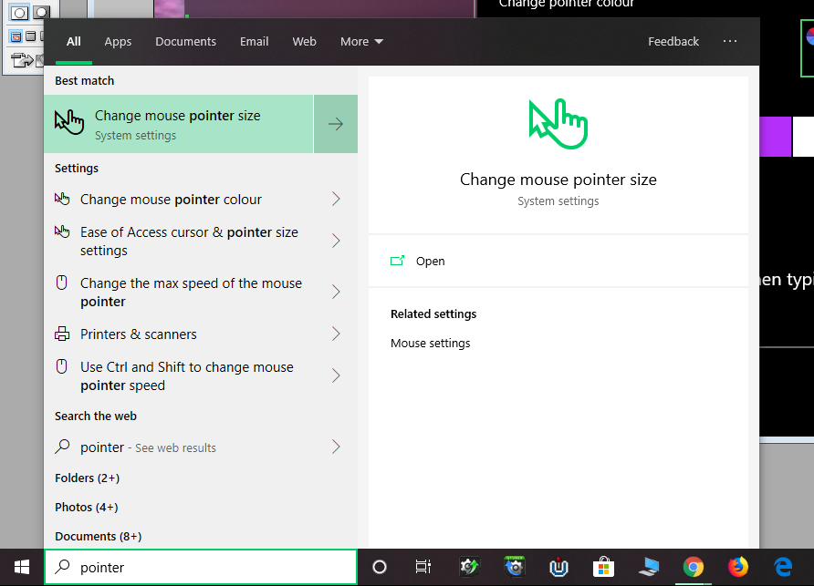 Windows search results after typing pointer. Top highlighted result reads, Change mouse pointer size with an arrow and hand with pointing click finger.