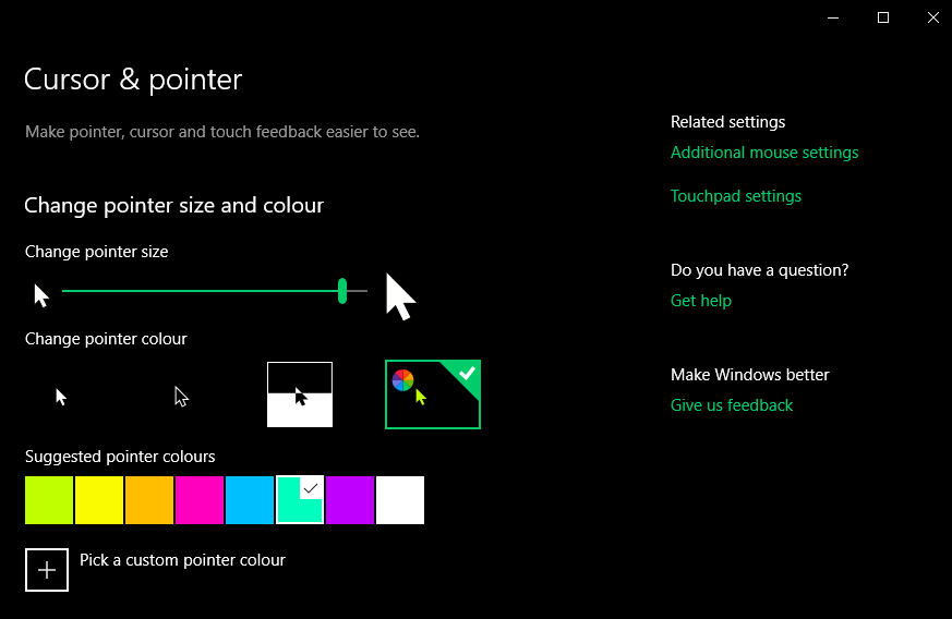 Cursor and Pointer window. Has a slider with small pointer to the left and large one to the right. A range of coloured tiles below give an options for pointer colour.