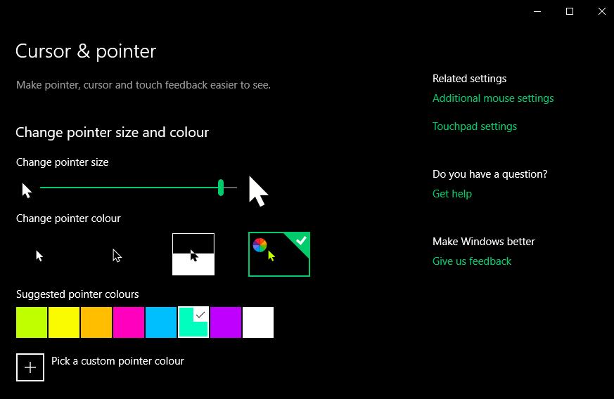 Pointer adjustment window in Windows 10.