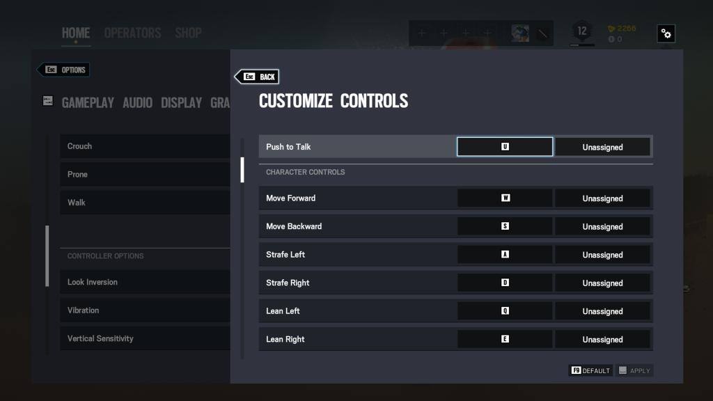 Screenshot showing customize controls interface for mapping keybindings.