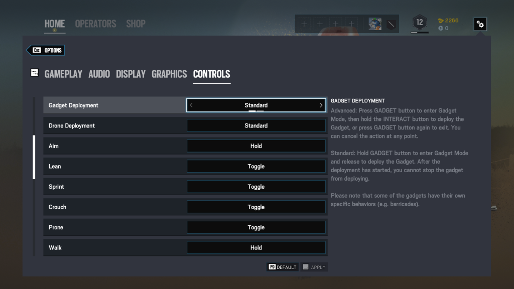 Screenshot showing Controls Options for Keyboard and Mouse.