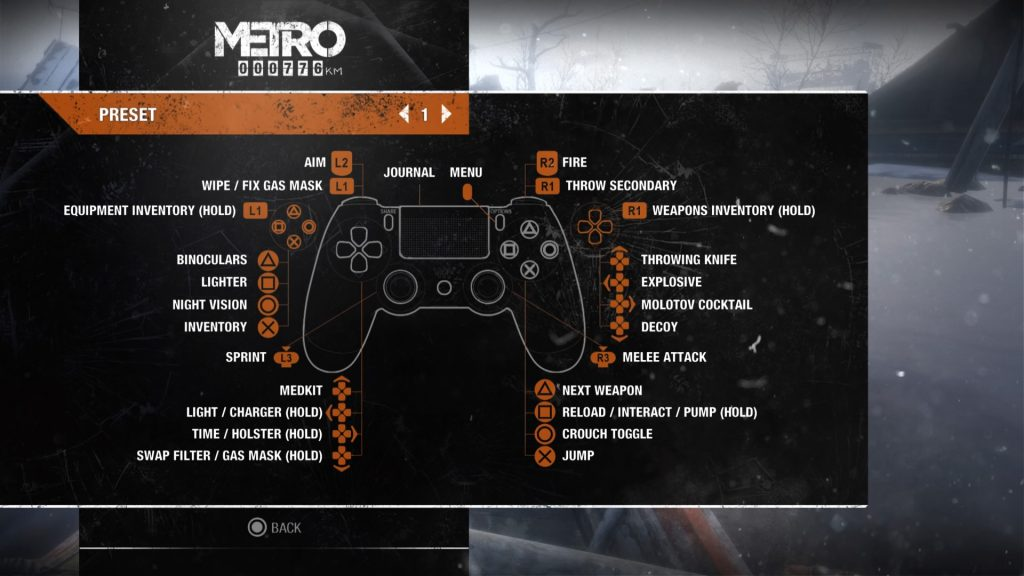 Screenshot showing preset 1 controller layout for Metro Exodus.