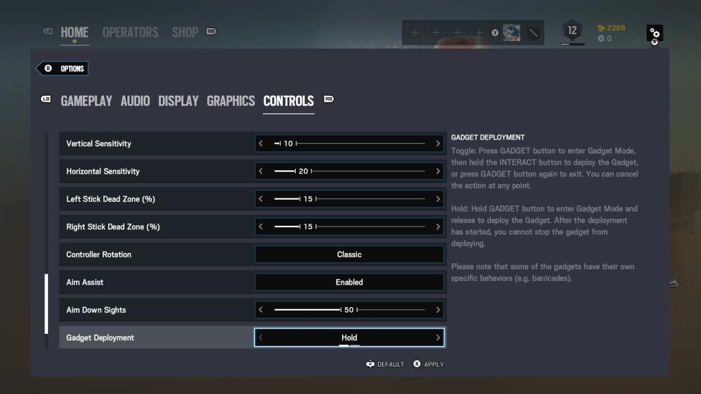 Screenshot showing controls options.