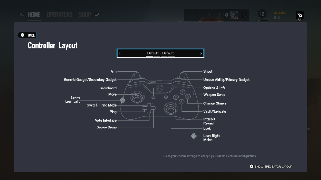 Screenshot showing the default controller layout.