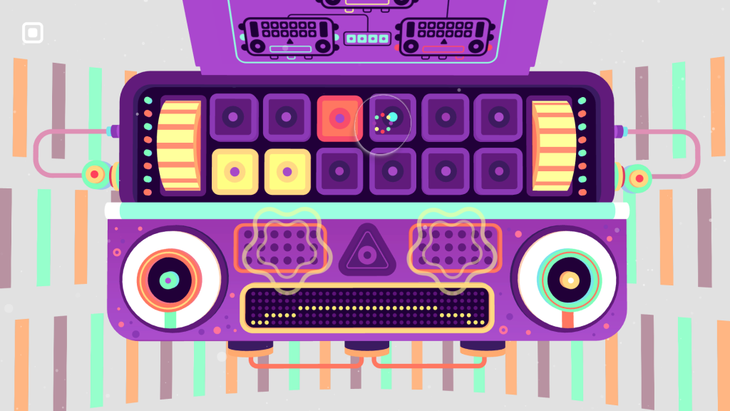 Screenshot of GNOG Level showing a  colourful mechanical face with knobs, dials and buttons on it. On one of the buttons is a cursor icon with a bubble around it showing the position of the eye tracking.