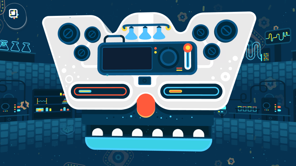 Screenshot of a level in GNOG with a mechanical face. The cursor is positioned over an icon in the top left corner along with a bubble showing that the players gaze is over the onscreen menu icon ahead of selecting it.