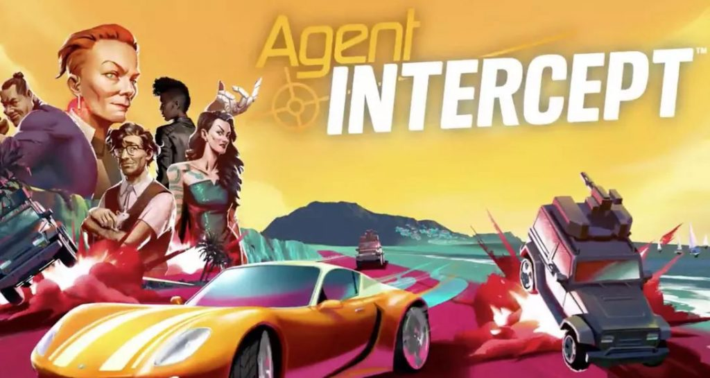 Agent Intercept artwork. A group of agents to the left, sports car below, and sea and mountains around. Stylised vector art.