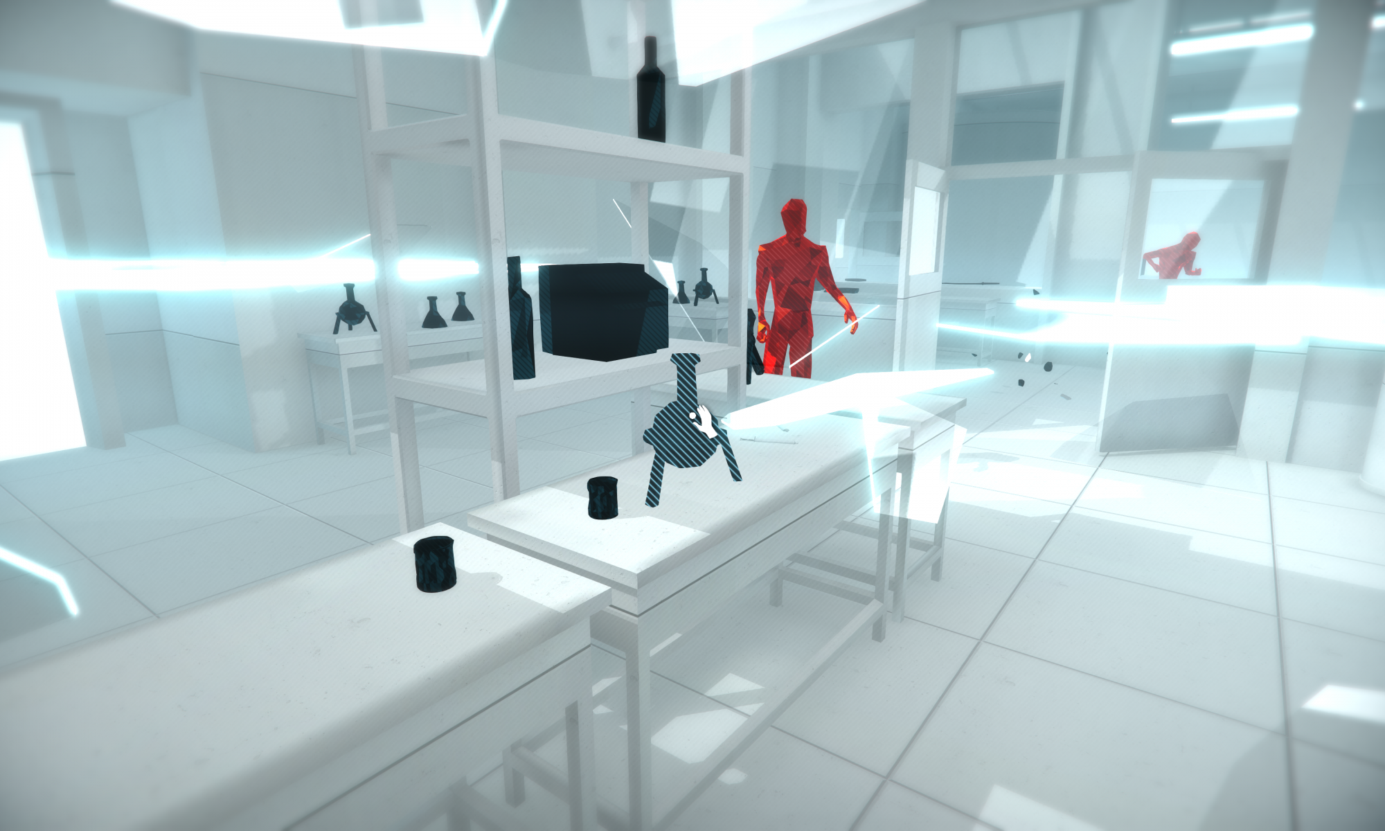 Screenshot showing a lab with the crosshair on a bottle with a pick up icon. Two red digiatalised AI figures are behind a table andtrhough a window.