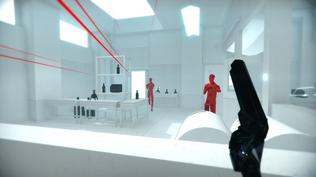 Screenshot showing first person viewpoing holding a pistol looking through a window into a lab with two red digitalised AI with shotguns. The lines of passing bullets in red are whizzing past.