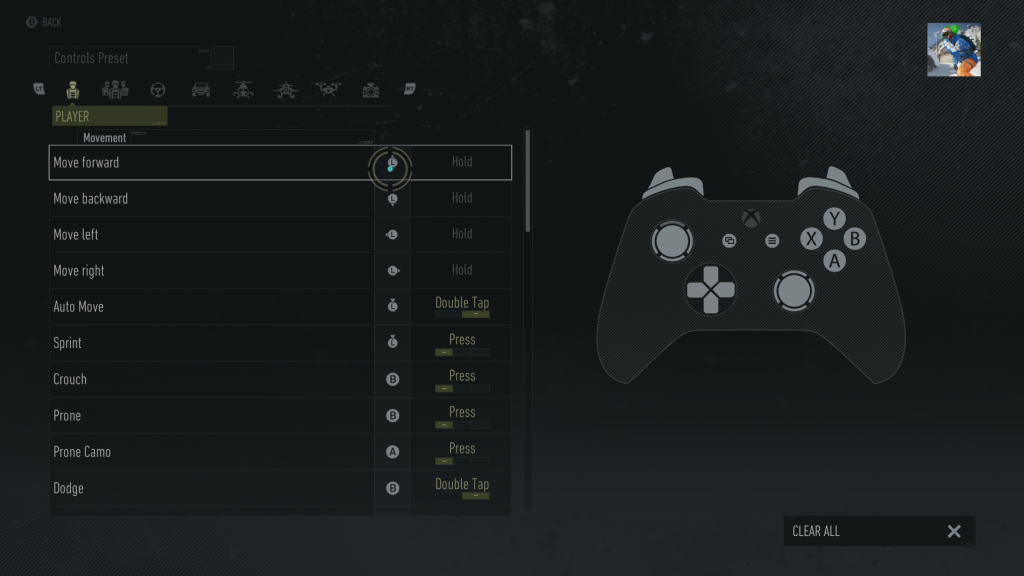 Screenshot of the Gamepad remapping screen, showing a gamepad and a list of in-game actions with their corresponding input next to them. Next to some, there is the option to alter how it is interacted with such as with a press, a hold or a double tap.