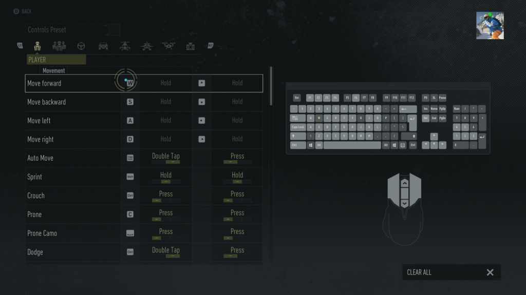 Screenshot of the keyboard and mouse remapping screen, showing a image of a keyboard and mouse alongside a list of in-game actions with their corresponding input next to them. Next to some, there is the option to alter how it is interacted with such as with a press, a hold or a double tap.