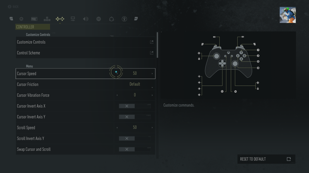 Screenshot showing the Menu control settings screen, with Cursor Speed highlighted.