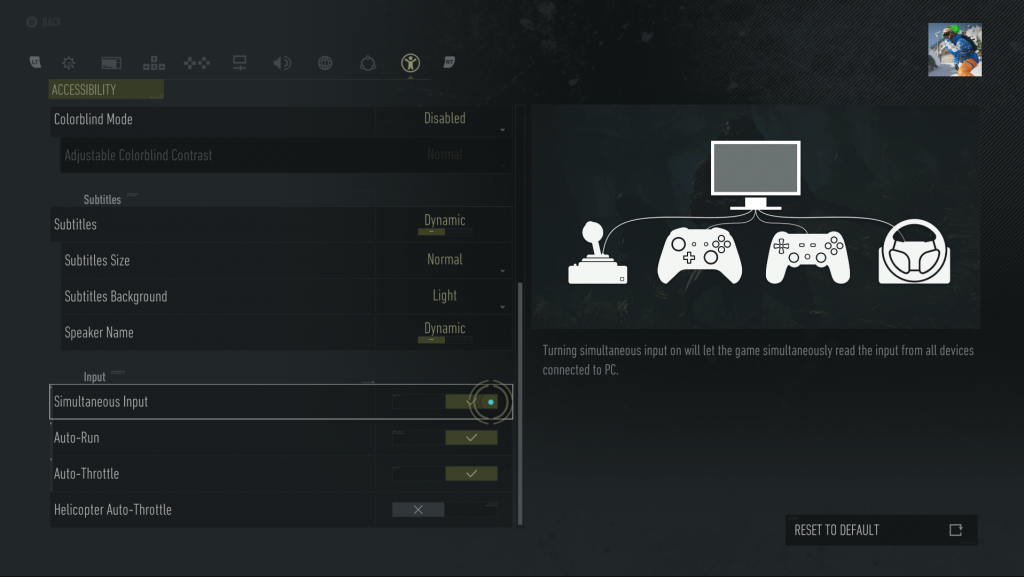 Screenshot of the Accessibility settings screen including the Simultaneous Input option. The image onscreen to represent this is a monitor with two gamepads connected, a joystick and a steering wheel.