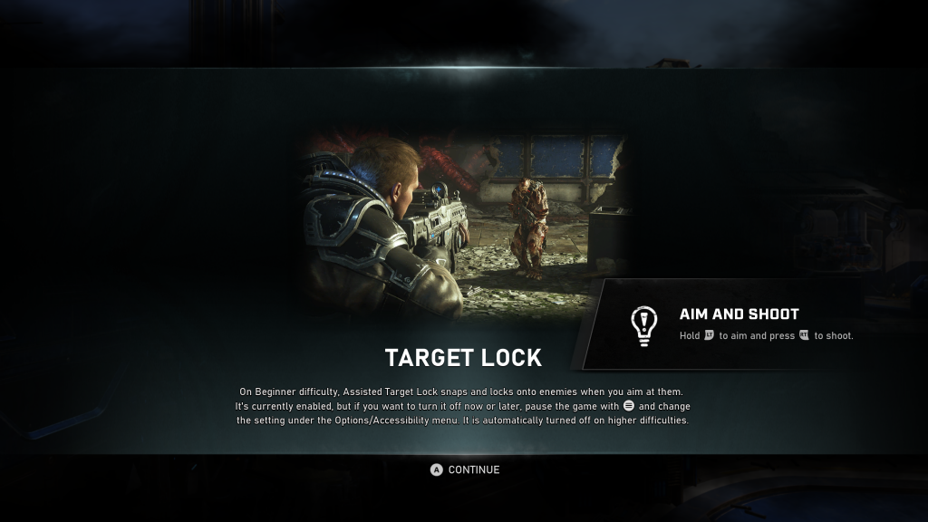 "Screenshot showing a message in GEARS 5 describing Target Lock. There is a game play still of an enemy being aimed at, with the message stating to ""Hold LT to Aim and press RT to shoot""."