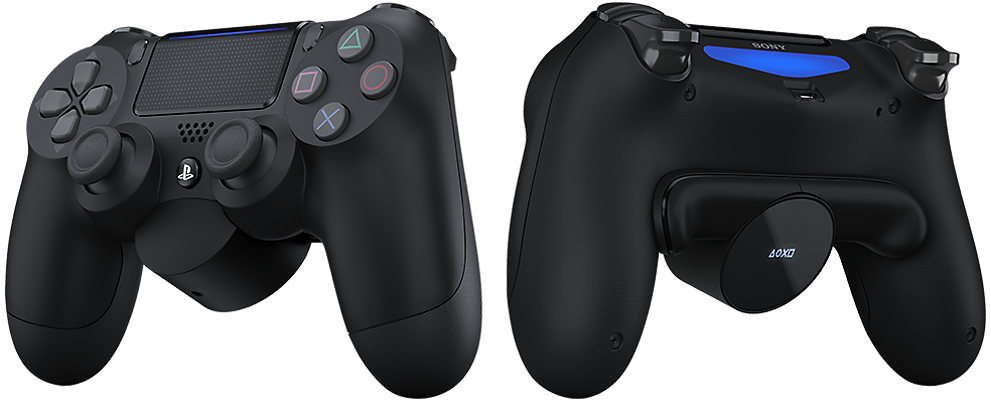 PS4 Dualshock with fitted rear back button attachment. A black sculpted attachment with round OLED screen with the Playstation shapes displayed. Two trigger buttons either side.