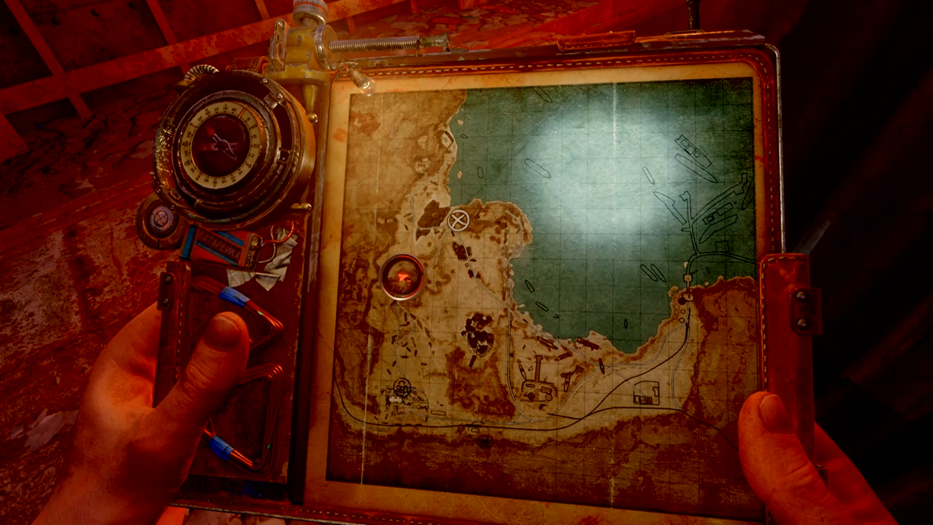 Screenshot showing a first person perspective hoding a map with a marker on it. To the side is a compass.