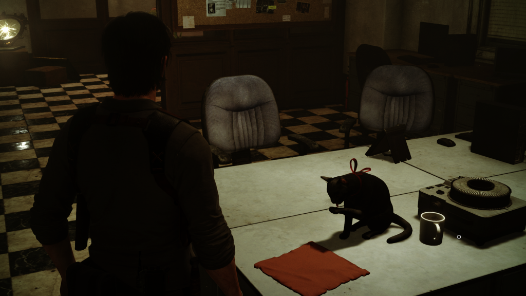 Screenshot from the beginning of The Evil Within 2. It features a cat and our main character.