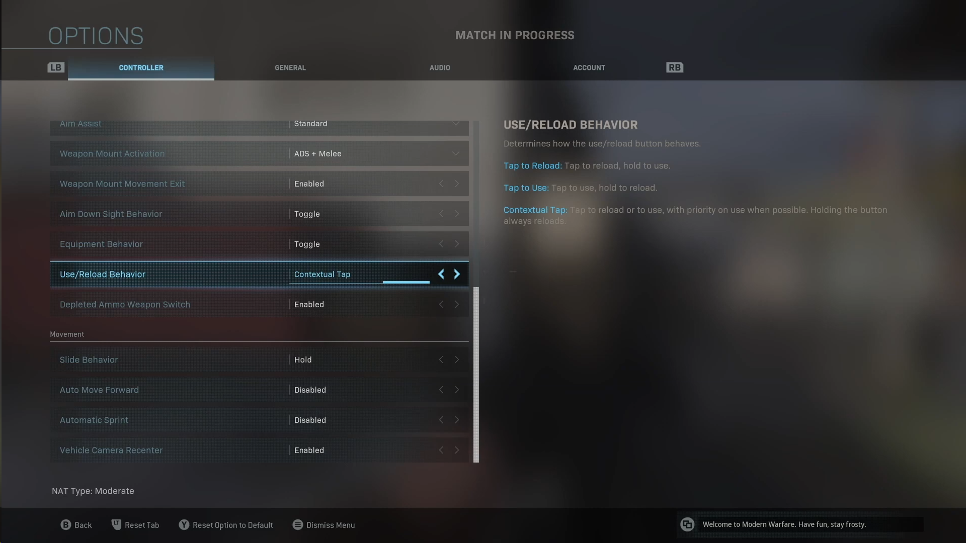 Screenshot of Warzone showing ther Weapon Options.