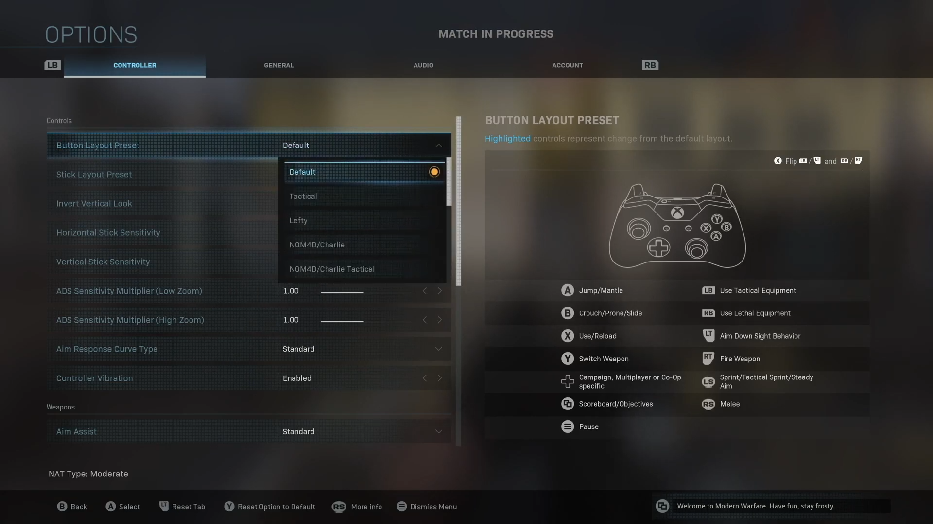 Screenshot showing Call of Duty Modern Warfare controller layout options.