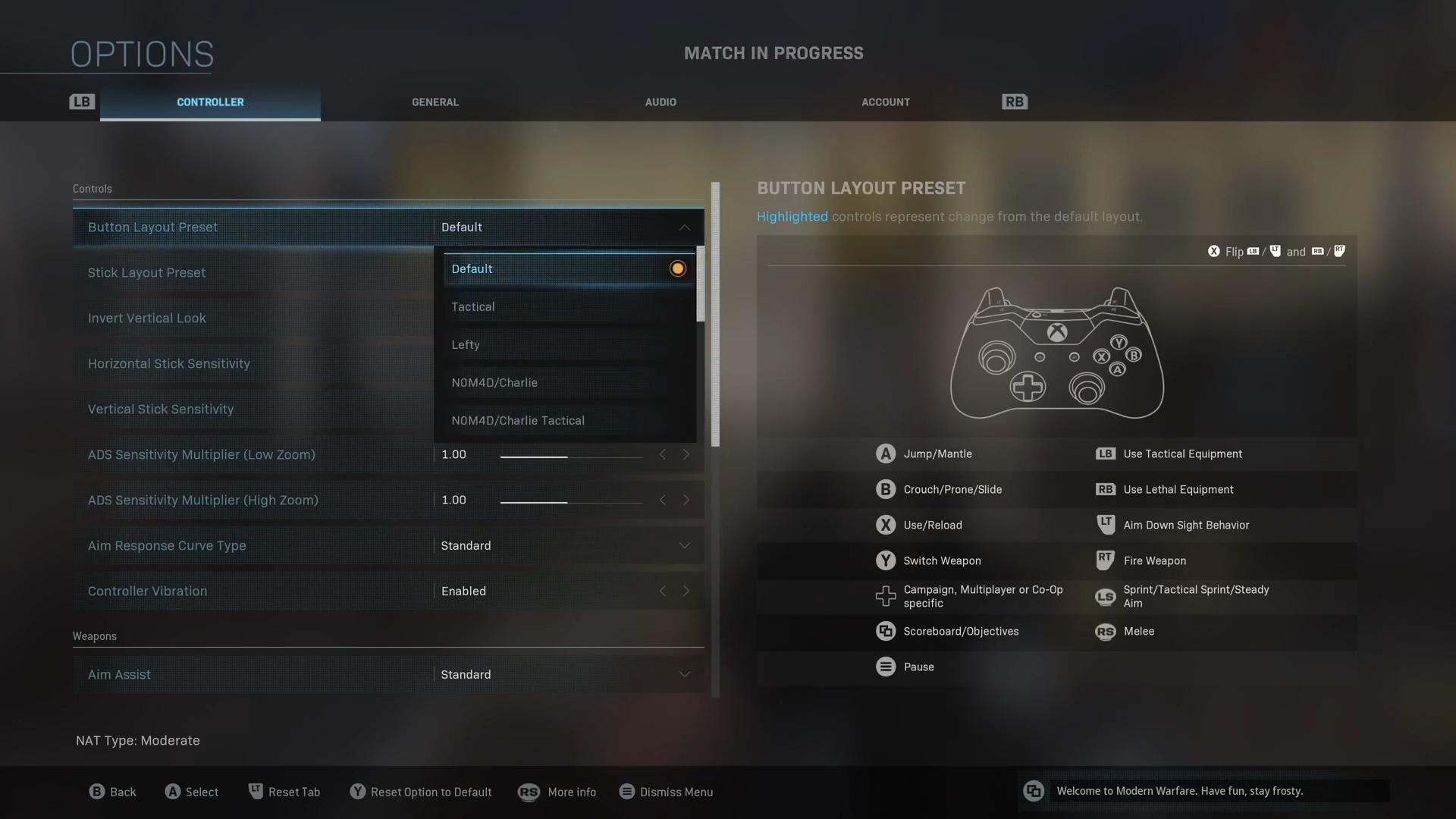 Screenshot showing Call of Duty Modern Warfare controller layout options.