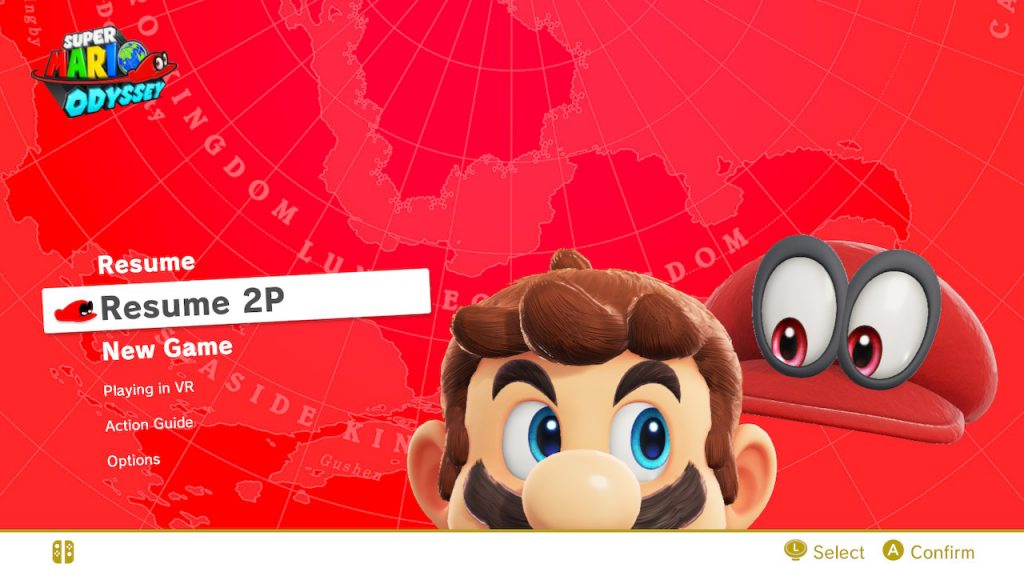 An image of the Super Mario Odyssey menu screen. It shows the option for 2 player as well as the action guide and option menu.