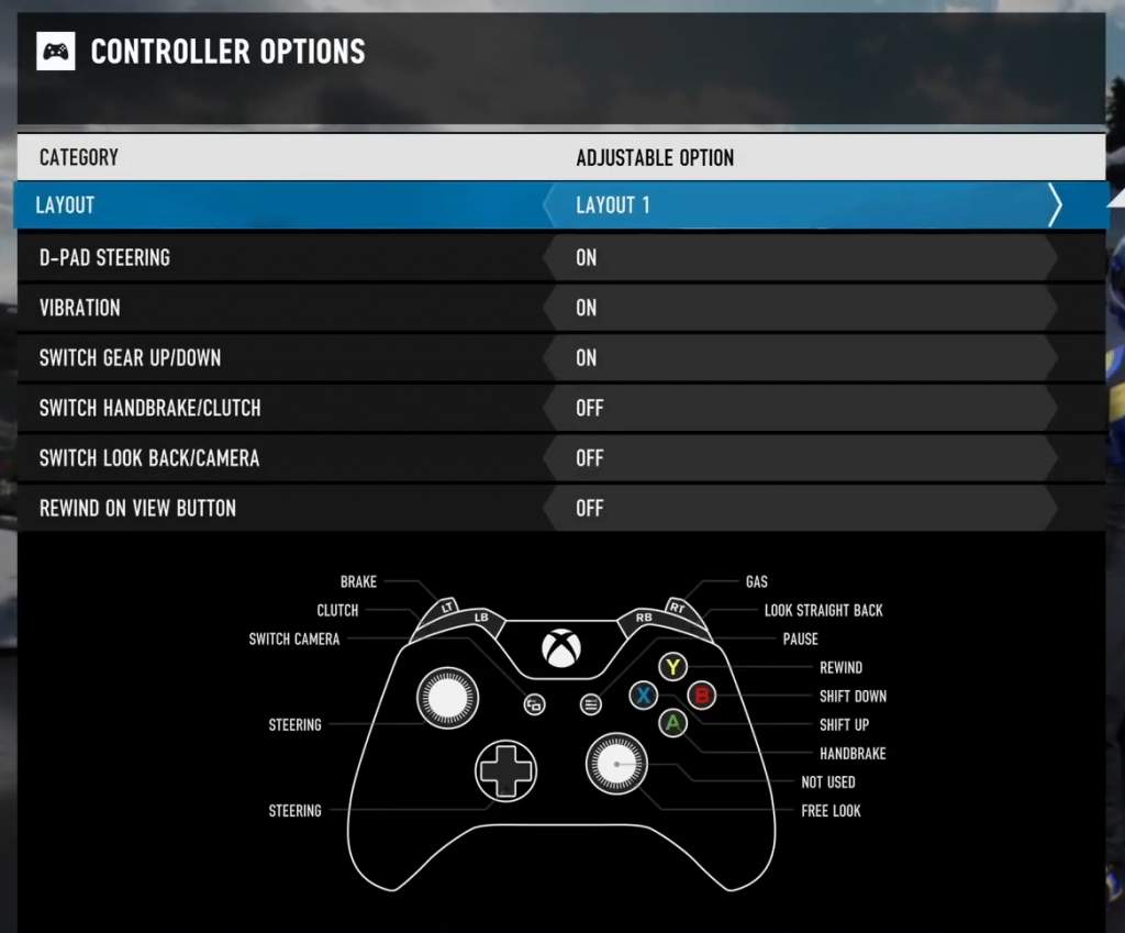 Screen shot of Forza Motorsport 7 showing default controller layout.