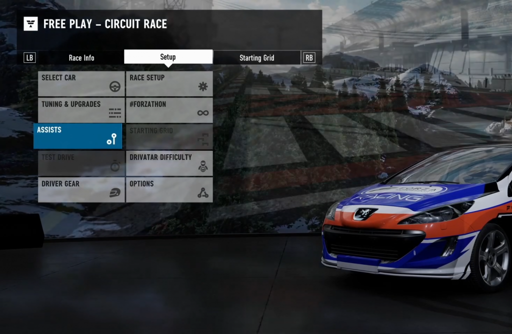 Screenshot showing the Assists menu in Forza Motorsport 7.