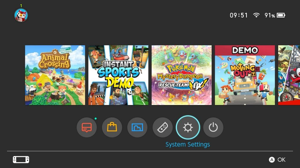 Nintendo Switch system menu screenshot showing Systems Settings being selected.
