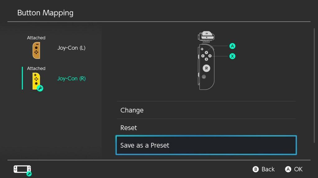 Nintendo Switch system menu screenshot showing an option to Save as a Preset.