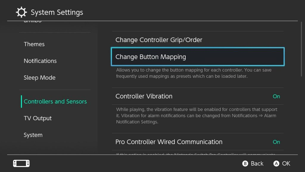 Nintendo Switch system menu screenshot showing Change Button Mappings being selected.