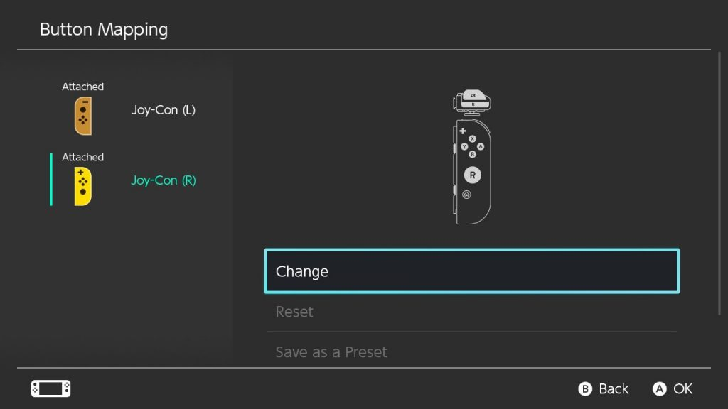 Nintendo Switch system menu screenshot showing Change being selected in Button Mapping.