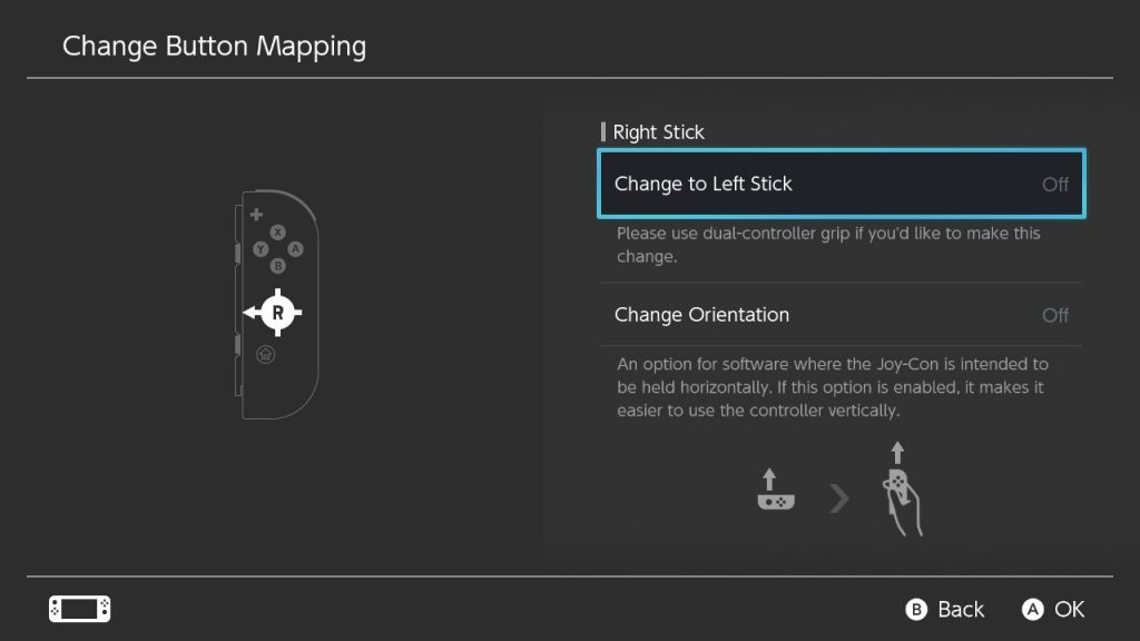 Nintendo Switch system menu screenshot showing a Change to Left Stick  being selected for the Right Stick in the Change Button Mapping settings.