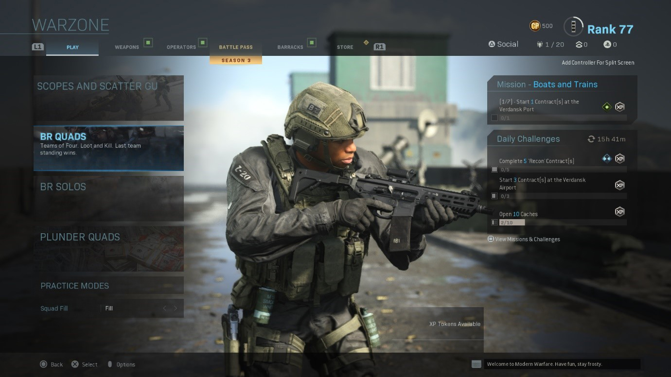 A screen shot of the Warzone menu screen. From here you can invite friends, and choose which game mode you would like to play. You can also go to options from this screen.