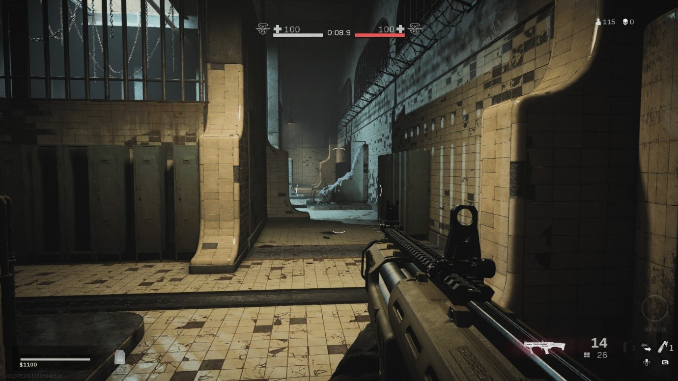 Screen shot of Call of Duty: Warzone showing gameplay in the Gulag.