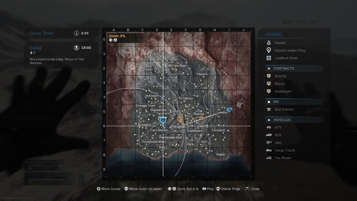 A screen shot of the Tac Map when using the Bumper Ping Controller Layout.