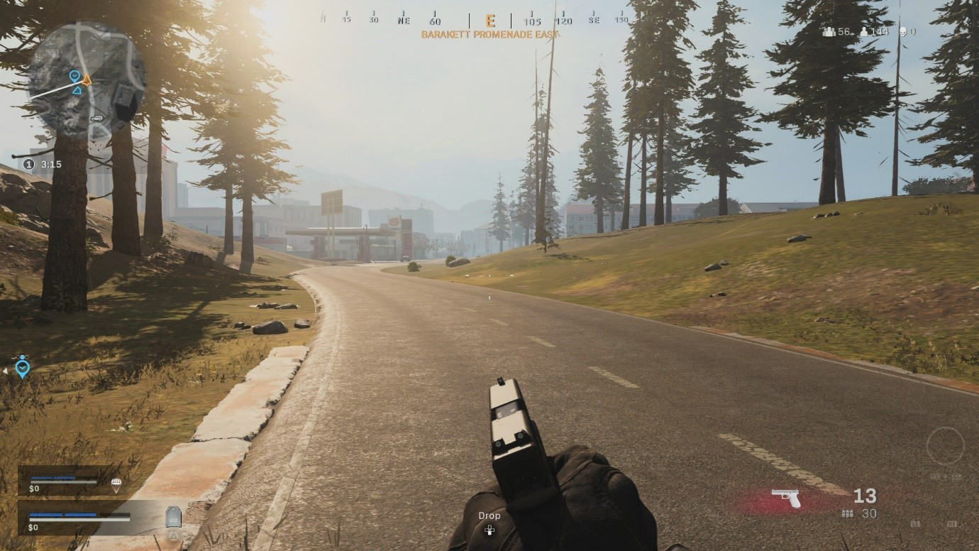 A screenshot of Warzone during gameplay. All players will start with a pistol, and need to find other weapons.