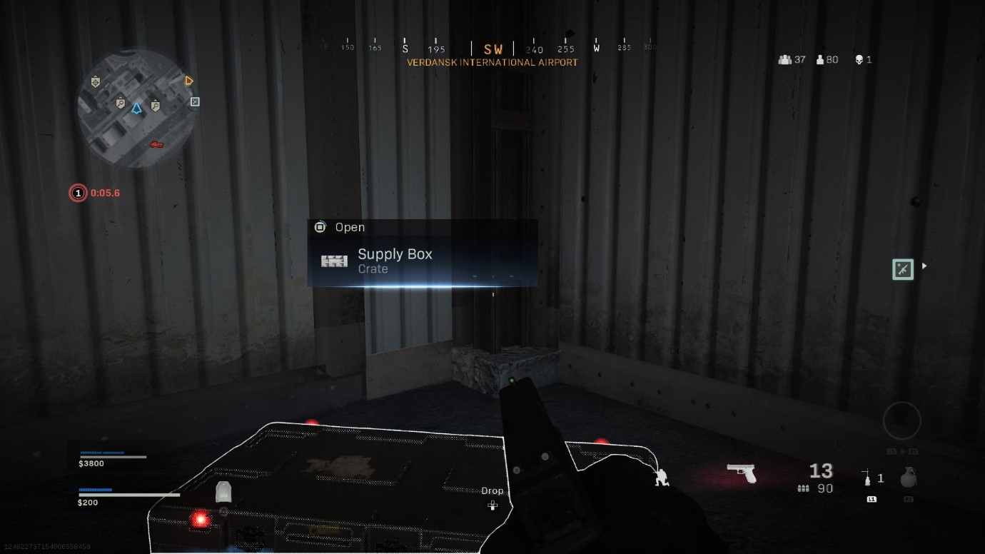 Screen shot of Warzone during gameplay, demonstrating how to open a Supply Box.