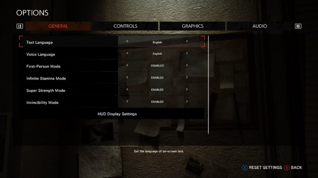 The image shows the General Options menu. This is the menu where you can choose Bethesda.net account assist modes as well as adjust first person mode and language.