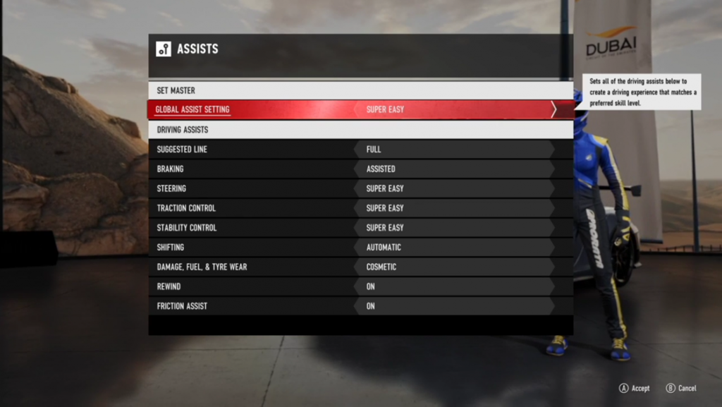 Screenshot showing the Assists in Forza Motorsport 7.