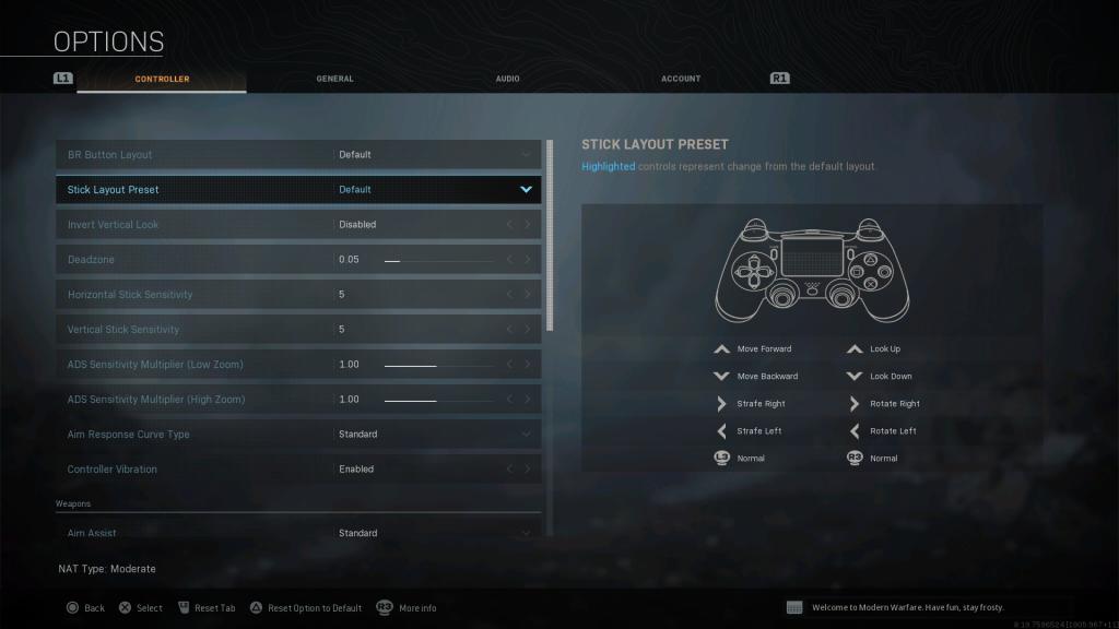 Screenshot showing Defaultstick preset